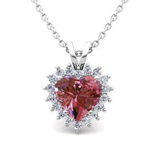 Jewelry - Lady Pendant Necklace With Chain 3.50 Ct. Pink Sap